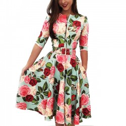 Leisure Red Flower Rose Leaf Print Middle Sleeve Summer Dress