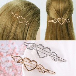 Cute Cupid Love Heart Angel Wings Metallic Side Women Hollow Hair Clips