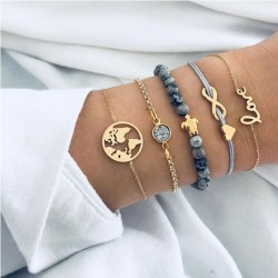 Leisure Multi-layer Map Unlimited Turtle Love Five Set Bracelet