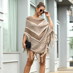 Leisure Autumn Cloak Shawl Tassel Geometry Round Collar Pullover Women Sweater
