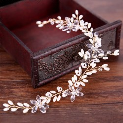 Elegant Leaves Pearl Wedding Hair Chain Branch Headband Hair Accessories