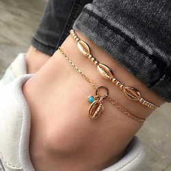 Bohemian Handmade Beaded Metal Shell Personality Double Decker Anklet