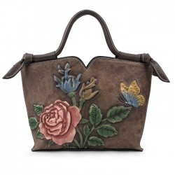 Retro Handmade 3D Flower Leaves Shoulder Bag Butterfly Embossing Handbag