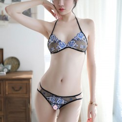 Sexy Flower Embroidery Bra Set Open Underwear Mesh Thin Women Intimate Lingerie