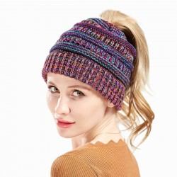 Fashion Mixed Color Knit Multi-function Headbands Messy Bun Soft Warm Winter Women Hat