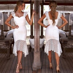 Leisure White Hollow Lace Summer Sling Slim Party Dress