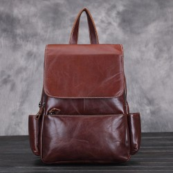 Retro Elegant New Oil Wax Leather School Bag Cowhide Handmade Original Student Backpack