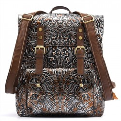 Retro Original Double Buckle Student Backpack Embossing Totem School Backpack