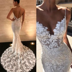 Sexy V-neck Leaves Lace Backless Slim Camisole Dress White Lace Hollow Party Dress