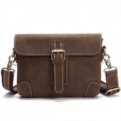 Retro Small Messenger Bag Single Buckle Leather Vintage Shoulder Bag