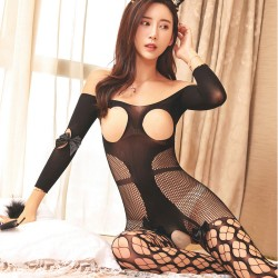 Sexy Siamese Rabbit Girl Fish Net Jacquard Open Crotch Bunny Stocking Teddy Bodysuit Lingerie Bodystocking