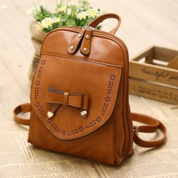 Vintage Style PU Leather Bow Backpack