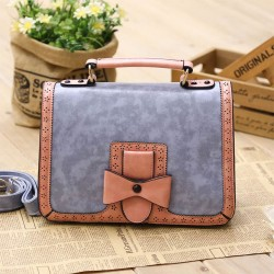 Vintage Contrast Color Bow Hollow Messenger Bag&Handbag
