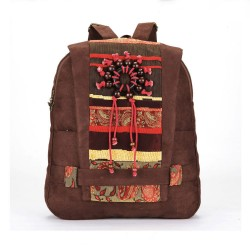 Vintage Handmade Wooden Bead Backpack