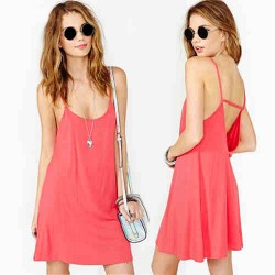 Sexy Nice Pink Solid Halter Strap Hollow Out Dress