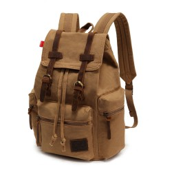 Vintage Brown Scrub Canvas Backpack