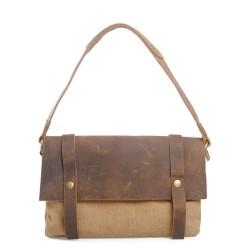 Vintage Cowhide Leather Canvas Messenger Bag