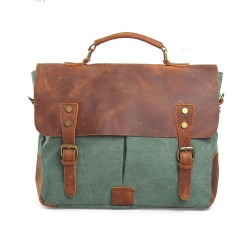 Vintage Canvas With Good Leather Handbag&Messenger Bag