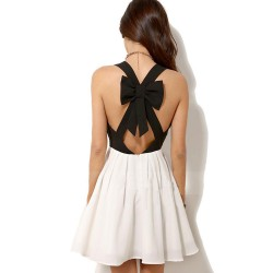 Unique Halter Bow Contrast Color Chiffon Dress