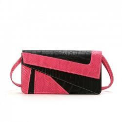 Fashion Serpentine Contrast Color Envelope Geometry Clutch Bag