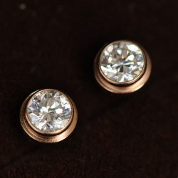 Fashion  Drill 18k Rose Gold Couple Earrings Studs