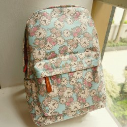 College Style Fresh Floral Clock Printed Backpack