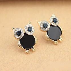 Fashion Cute Owl Black Crystal Rhinestones Ear Studs