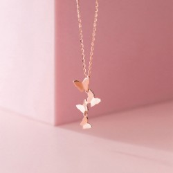 Cute Multilayer Butterfly Pendant Chain 925 Silver Personalized Jewelry Women Necklace