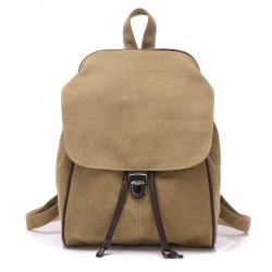 Retro Pure Color Single Buckle Travel Bag Canvas School Backpack