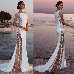 Fashion New Sideways Perspective Lace Sleeveless White Bridesmaid Long Dress Party Dress