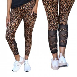 Fashion Punk Wild Leopard Splicing High Waist Yoga Pants Women's Leggings