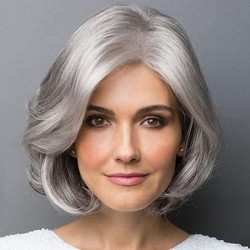 Unique Gray Oblique Bangs Short Wig Female Middle Curly Hair Wig