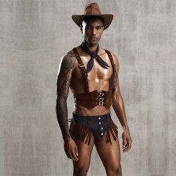 Sexy Cowboy Cosplay Personality Denim Underwear Uniform Temptation Wild Tassel Men's Lingerie