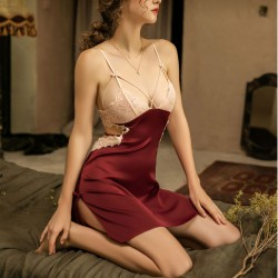 Sleepwear For Women Lace Splice Smooth Silk Chemise Nightgown Bowknot Backless Pajamas Negligee Sexy Lingerie