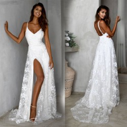 Fashion Deep V Bridesmaid Dress Sleeveless Backless Strap Side Open Long Wedding Lace Maxi Dress Party Dress Evening Gown