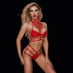 Sexy Lace Bra Panty 2 Piece Sets Strappy Red PU Leather Bikini  Women's Underwear Lingerie