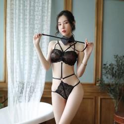 Sexy Cute Black Lace Uniform Seduction Passion Doll Conjoined Girl Lingerie