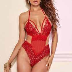 Sexy Red Lace Hollow Sling Pajamas Conjoined Intimate Girls Lingerie