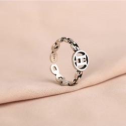 Retro Unique Hollow Letter H Silver Jewelry For Girl Women's Opening Rings
