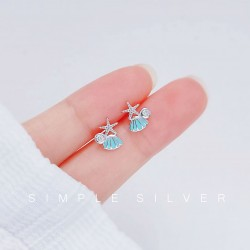 Sweet Blue Shell Starfish Crystal Ocean Jewelry For Her Beach Hypoallergenic Women's Earring Studs