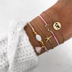 Unique LOVE Letter Starfish Map Tassel Four Piece Set Bracelet