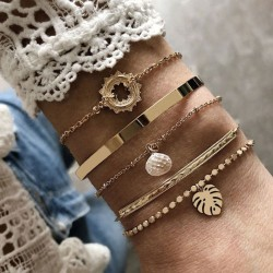Fashion Bead Chain Leaves Crystal 5 Piece Set Open Bracelet