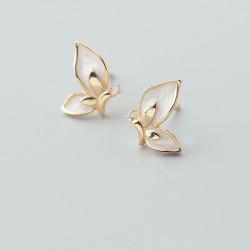 Elegant Glazed Golden Butterfly Sterling Crystal Silver Animal Earrings Studs