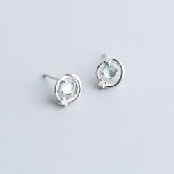 Unique Sterling Silver Universe Saturn Planet Opal Women's Earring Studs