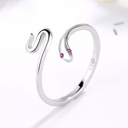 Adjustable Snake Cool Rings 925 Silver Minimalist Snake Animal Finger Ring for Women Wrap Open Spoon Rings