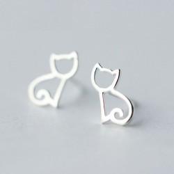 Lovely Hollow Cat Small Kitten Silver Animal Earring Studs