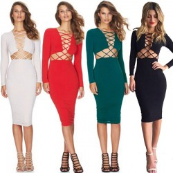 Sexy  Stretch Bodycon Party Bandage Long Sleeve Dresses