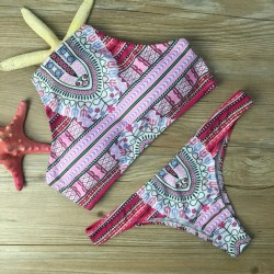 Apron Folk Printed Bikini Set Swimwear Halter Swimsuit Bathingsuit