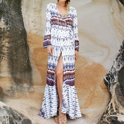 Women's V-neck Long Sleeves Bohemian Printing Full-lengh Dress With Belt