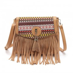Retro Folk Stitching Tassel Bag Shoulder Bag Messenger Bag